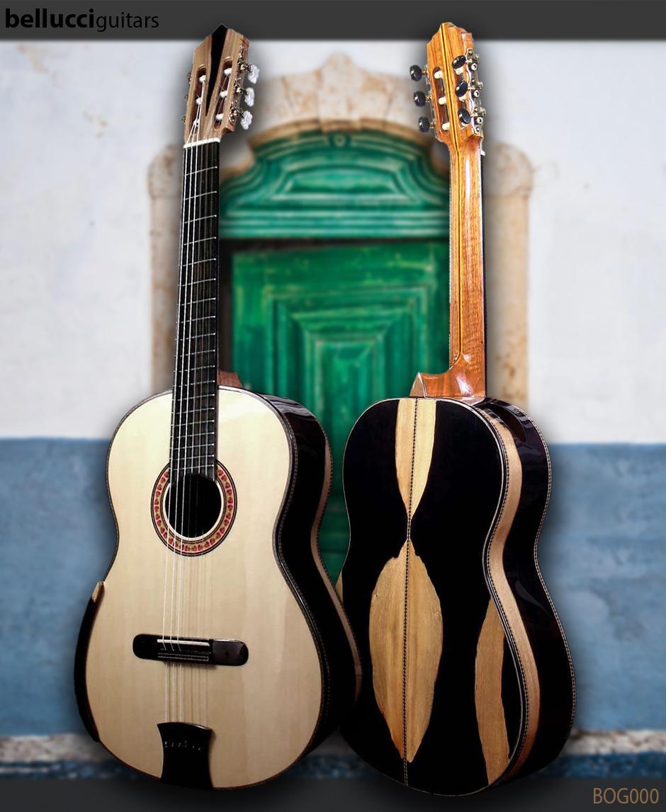 "Highly figured Macasar Ebony B&S, Italian Spruce Top doubletop, ""Orca Guitar"", Order Model BOG000"