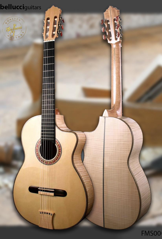 Bellucci Maple B&S, Italian Spruce Top Classical/Flamenco, Guitar Model FMS00. Order the FMS00 Bellucci guitar model HERE>>