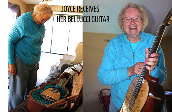 Joyce Receives her New Bellucci Guitar