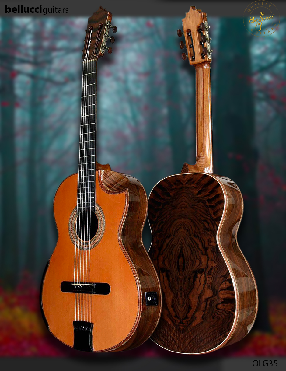 "Walnut Burl B&S, ""Guadalupe Guitar"", Limited Edition,  Bellucci guitar Model OLG35"