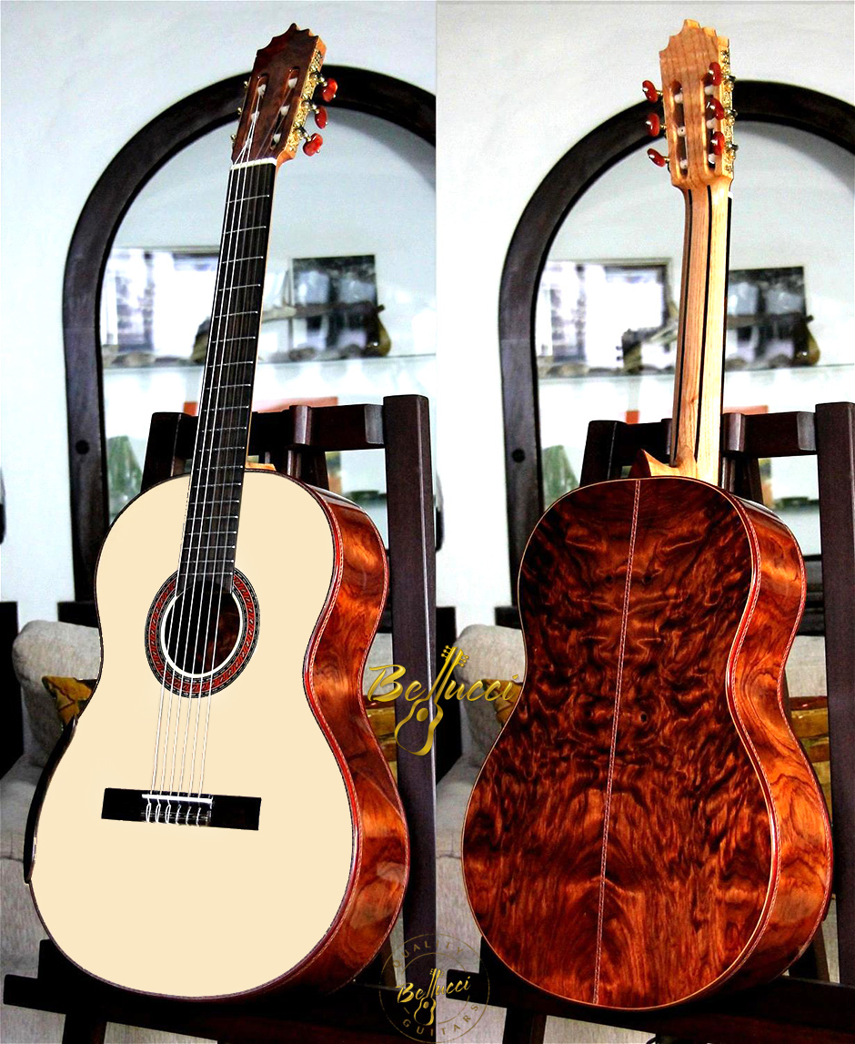 Curly African Bubinga B&S, Spruce top, Model CAB33 HERE>>