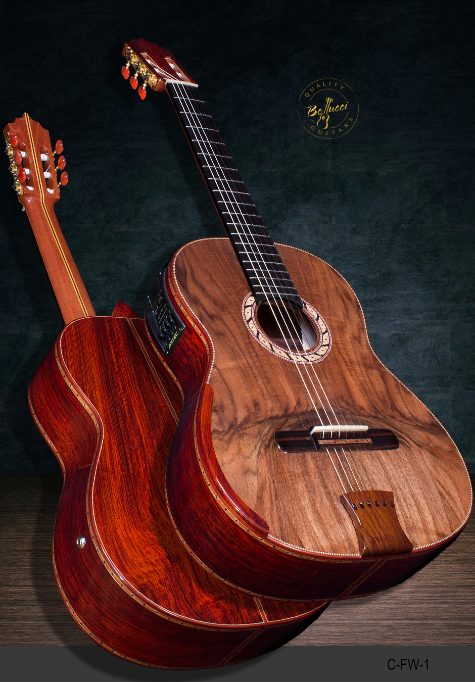 Cocobolo B&S Double top, Franquette Walnut Top, Masterpiece. Model C-FW-1