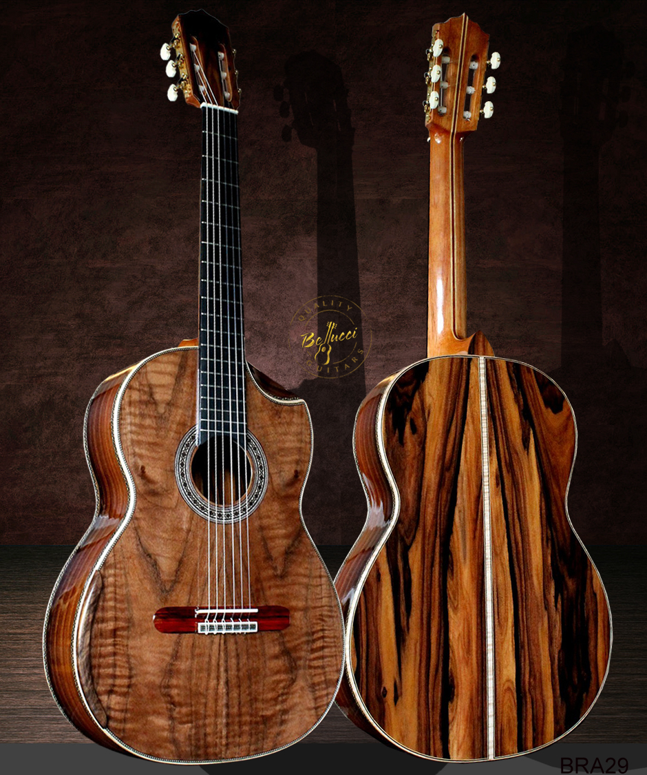Tiger Moded Guitar, Brazilian Rosewood B&S, Curly Sinker Redwood Top, Doubletop Nomex, Buy Model BRA29