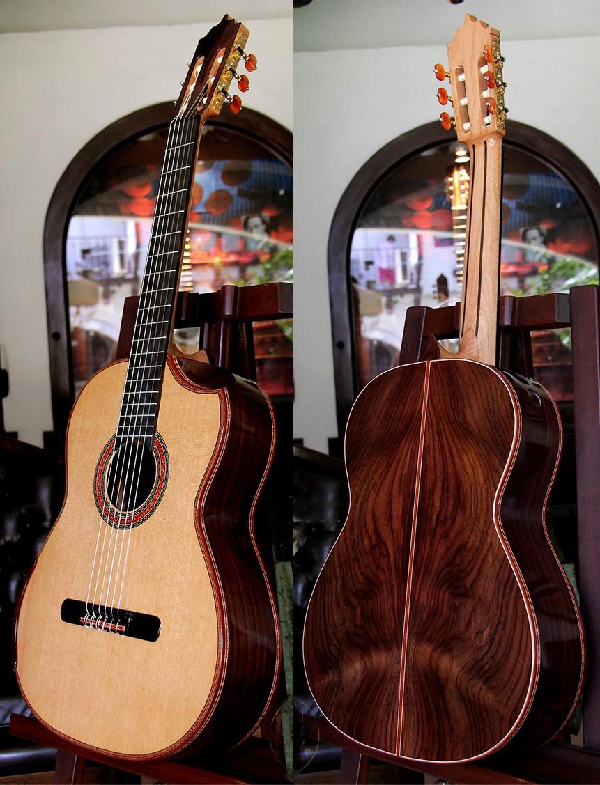 Indonesian Rosewood B&S, Lattice braced Cedar Top, Indented Cutaway, Model IRW66