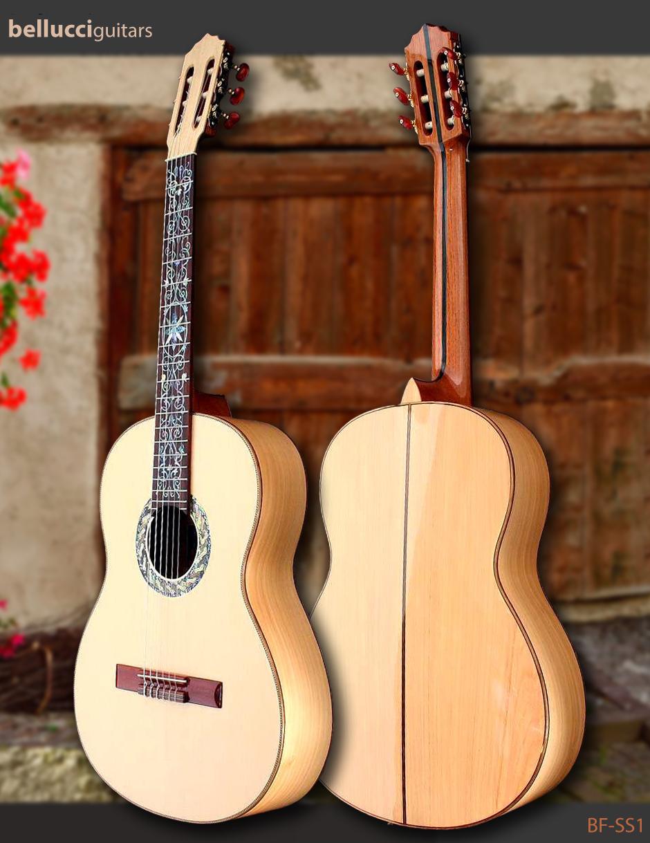 Hard Maple B&S Spruce top, Classical & Flamenco Bellucci guitar Model BF-SS1