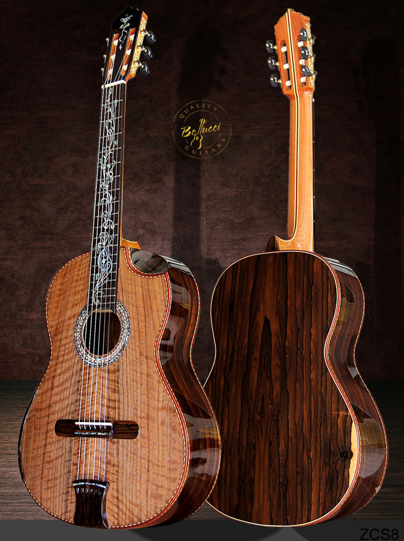 Ziricote B&S, Curly Sinker Redwood Top, Indented Cutaway, Buy MODEL ZCS8 HERE>>