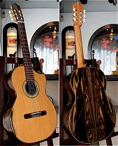 Moon Ebony B&S, Bellucci/Hauser braced Cedar top Concert guitar