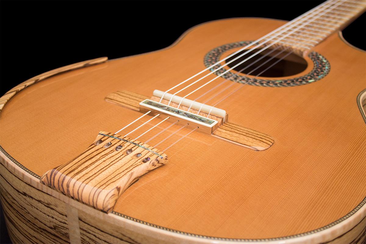 Mangore | Bellucci Guitars - Zebrawood B&S, Cedar top ...