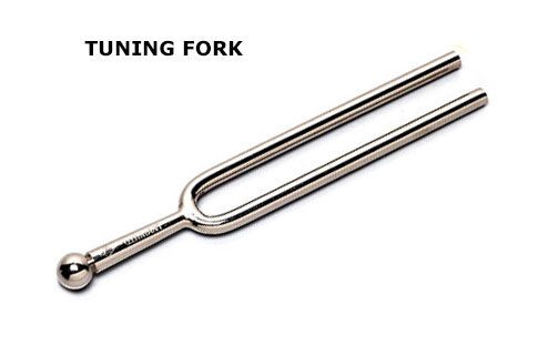 Hooked fingernails, tuning fork