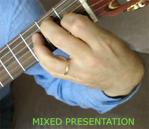 Classical guitar techniqe, Mixed presentation of the left hand