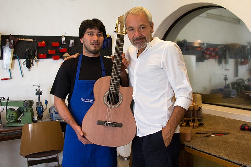 Renato Bellucci with one of his Master luthiers Rey