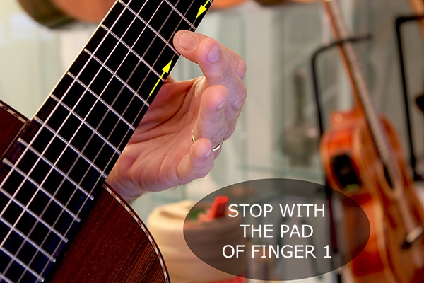Stopping the note with the pad of the finger