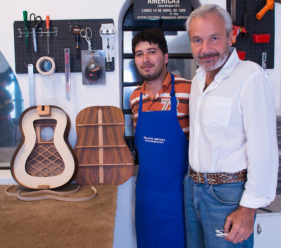 Renato with Bellucci Guitars Master builder Rey