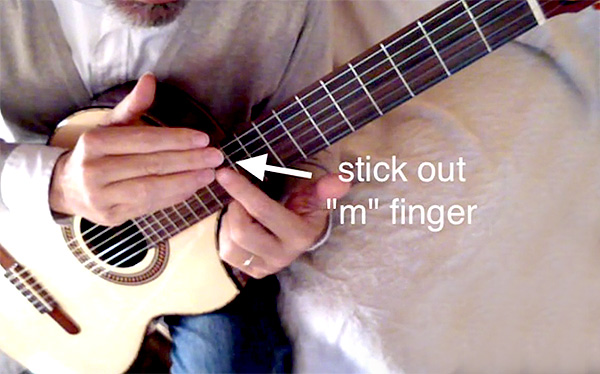 Bring the m finger out more