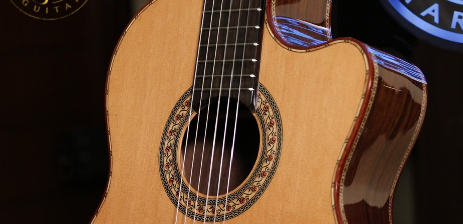 Indonesian Rosewood B& Cedar Top 630mm Cutaway Concert Classical Guitar