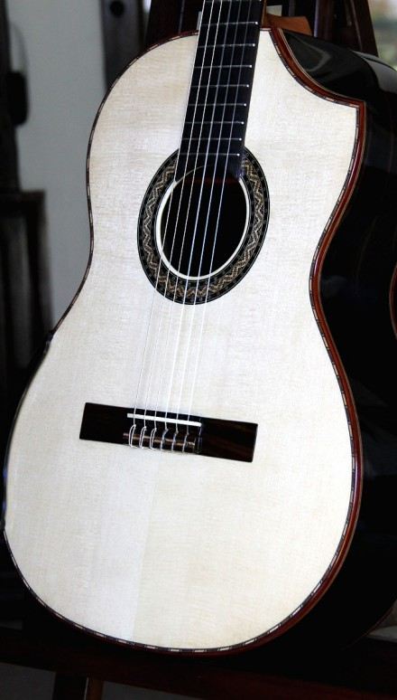 Macassar Ebony Back and Sides, Indented Cutaway Concert Classical Guitar