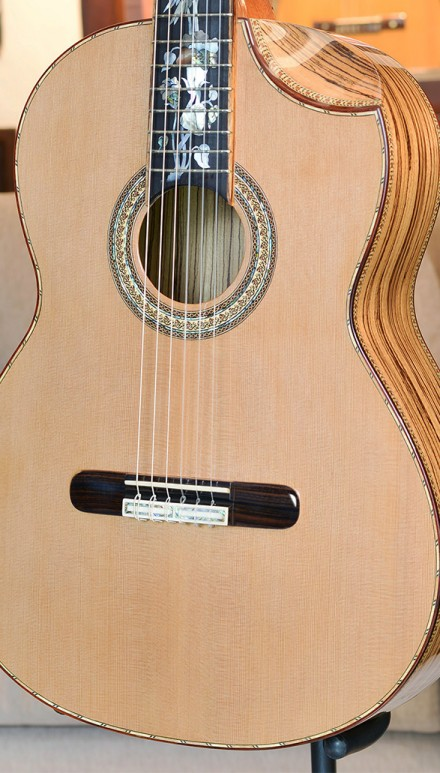 Zebrawood B&S, Cedar top, Hauser Braced, Indented Cutaway Concert Classical Guitar
