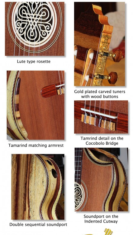 Spalted Tamarind B&S Sinker Redwood Top Concert Classical Guitar