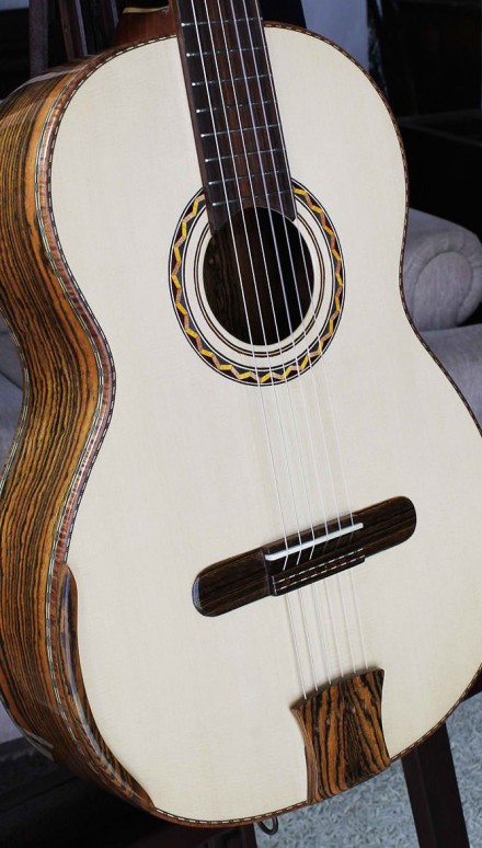 Highly Figured Bocote B&S, Alpine Spruce Top Concert Classical Guitar