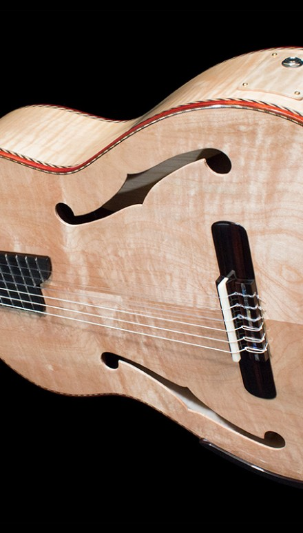 "Quilted Maple back, sides and top, ""Stradivarius Model"" Concert Classical Guitar"