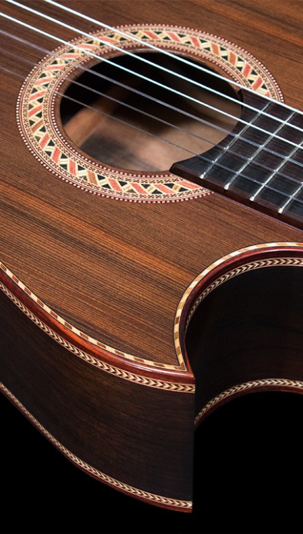"Macassar Ebony B&S, Sinker Redwood top, ""Typhoon Guitar"" Concert Classical Guitar"