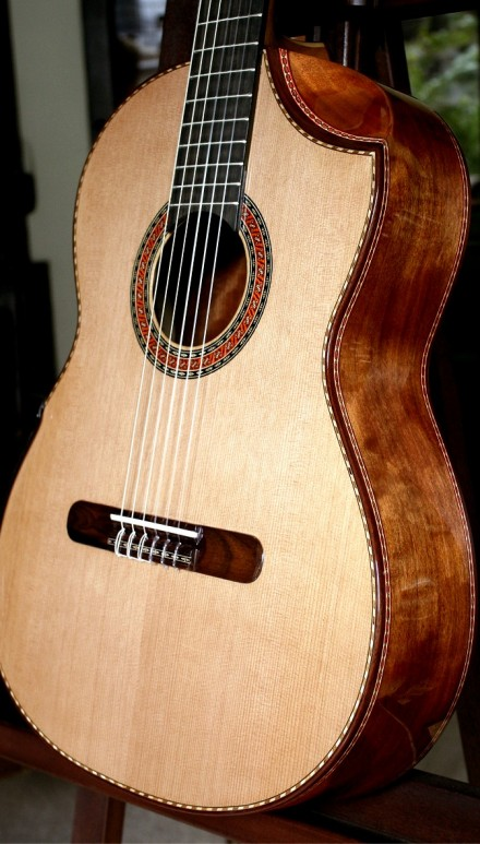 Figured Tansmanian Blackwood B&S Cedar Top Lattice Concert Classical Guitar