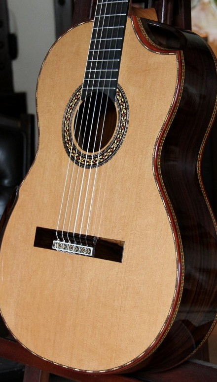 Pau Ferro B&S Cedar Top, Cedar Top Indented Cutaway Concert Classical Guitar