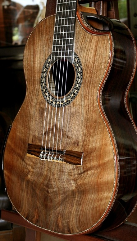 Brazilian Rosewood B&S Figured Walnut Top Concert Classical Guitar