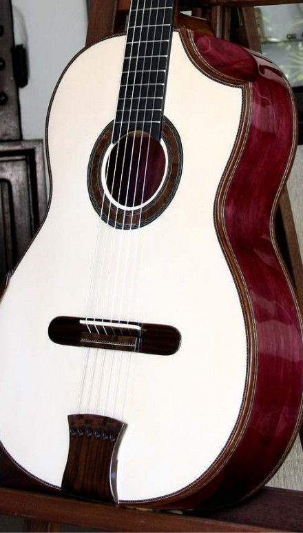 Curly Purple Heart B&S, Spruce top Concert Classical Guitar