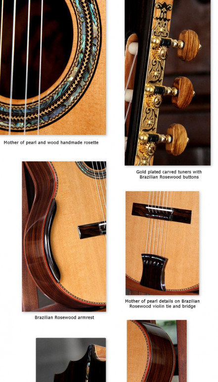 Indonesian Rosewood B&S, Cedar Top Aries Guitar Concert Classical Guitar