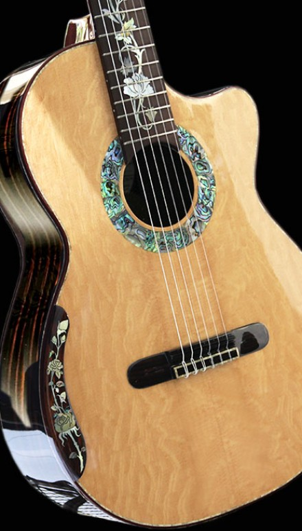 """The Unicorn"", Macassar Ebony B&S, Figured Port Orford Cedar Top. Collectors Edition Concert Classical Guitar"