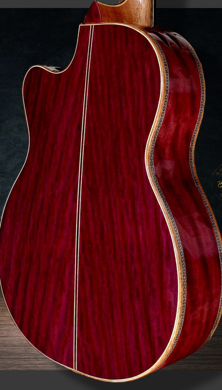 Purple Heart B&S, Italian Spruce top Doubletop Concert Classical Guitar