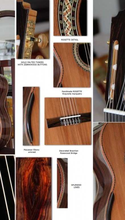 Highly Figured Indonesian Rosewood B&S Concert Guitar Concert Classical Guitar