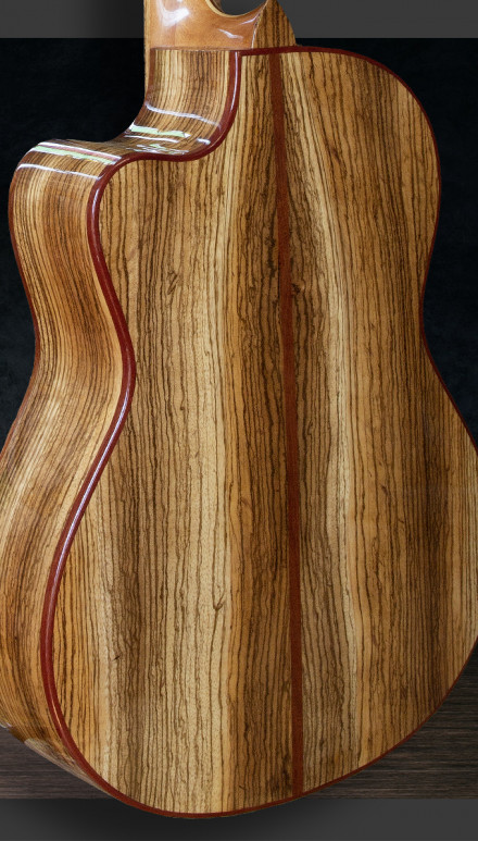 Zebrawood B&S, Cedar Top, Inlay Accents Concert Classical Guitar
