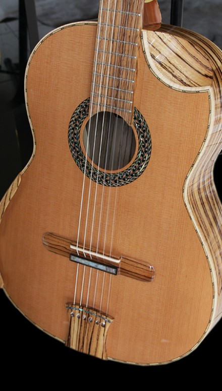 Zebrawood B&S Doubletop Concert Classical Guitar