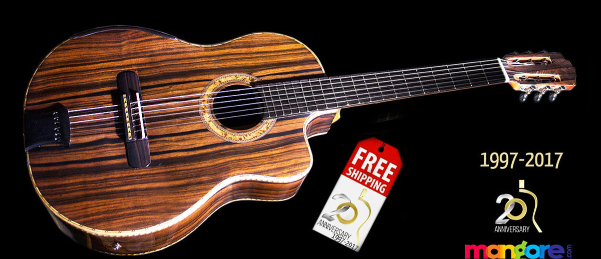 Ziricote B&S, Moon Ebony Top Concert Classical Guitar