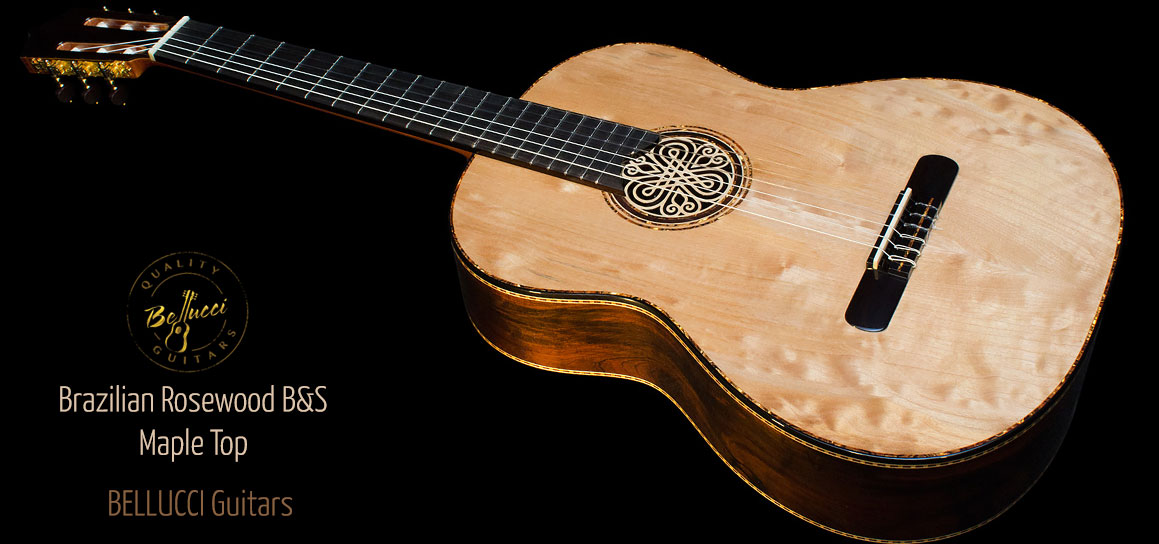 Brazilian Rosewood B&S, Quilted Maple top Concert Classical Guitar