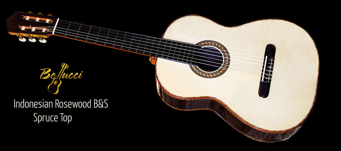 Indonesian Rosewood B&S, Spruce Top Concert Classical Guitar