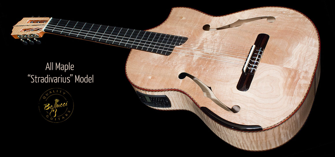 Quilted Maple back, sides and top, Stradivarius Model Concert Classical Guitar