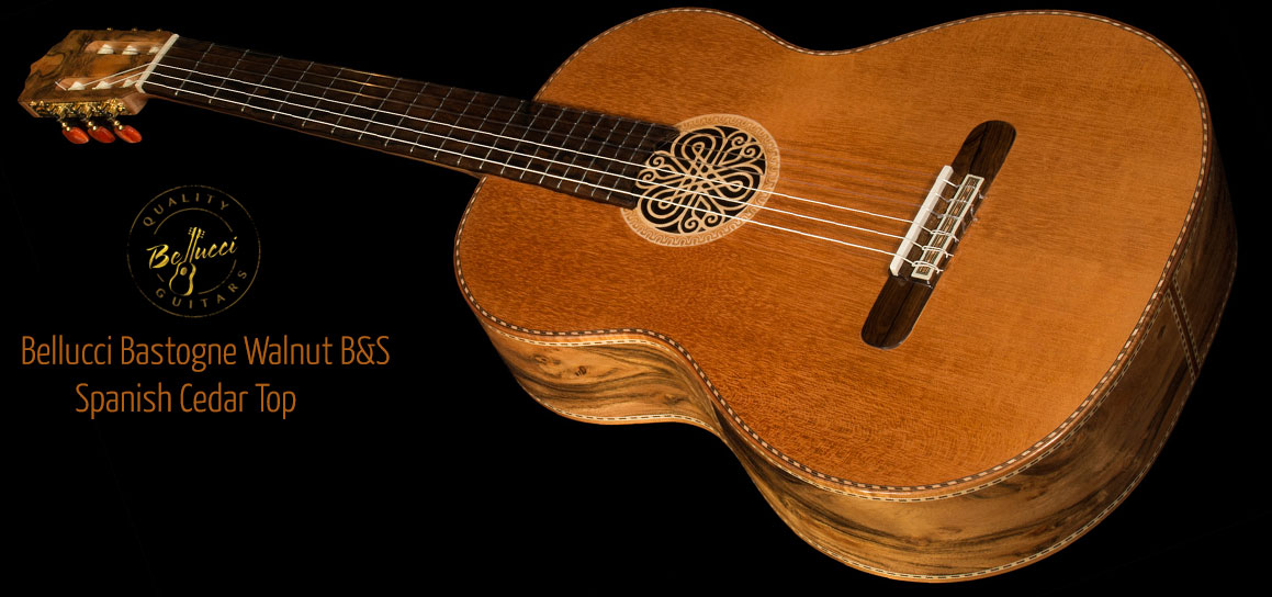 Bastogne Walnut B&S, Spanish Cedar top Concert Classical Guitar