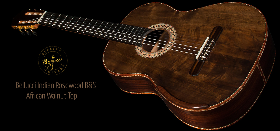 Indian Rosewood B&S, Figured Walnut top Concert Classical Guitar