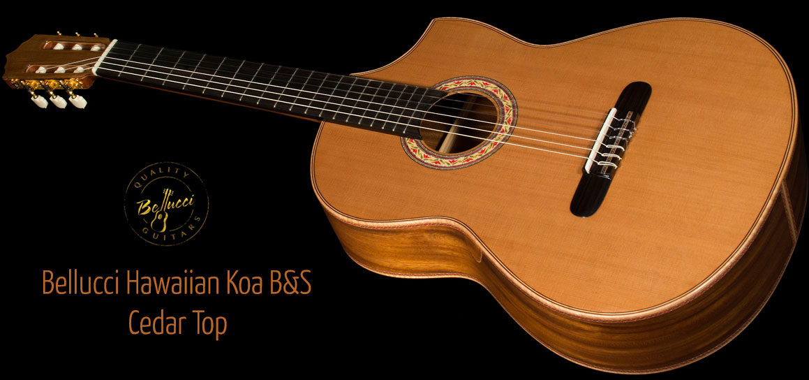 Hawaiian Koa B&S, Cedar top Concert Classical Guitar