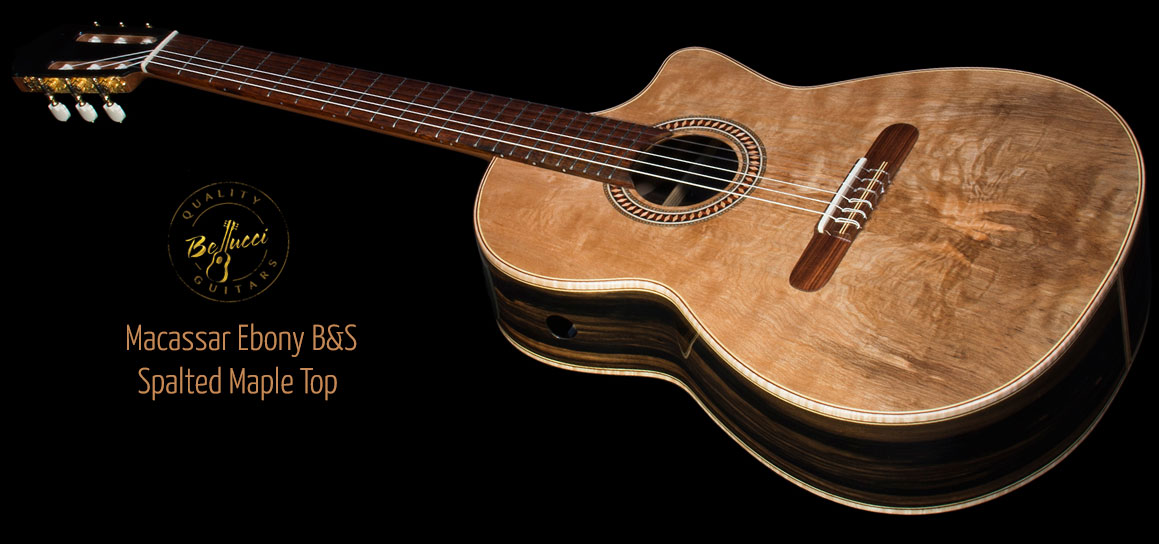 Macassar Ebony B&S, Spalted Maple top Concert Classical Guitar