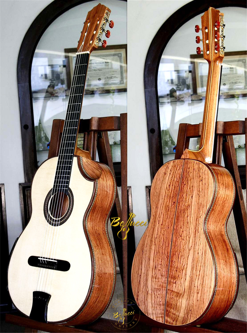 Palo Escrito B&S, Italian Spruce top, Indented Cutaway Concert Classical Guitar