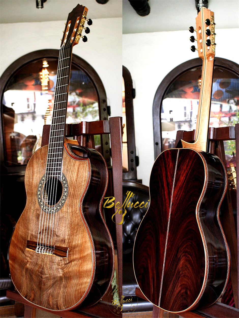 Indonesian Rosewood Franquette Walnut top Concert Classical Guitar