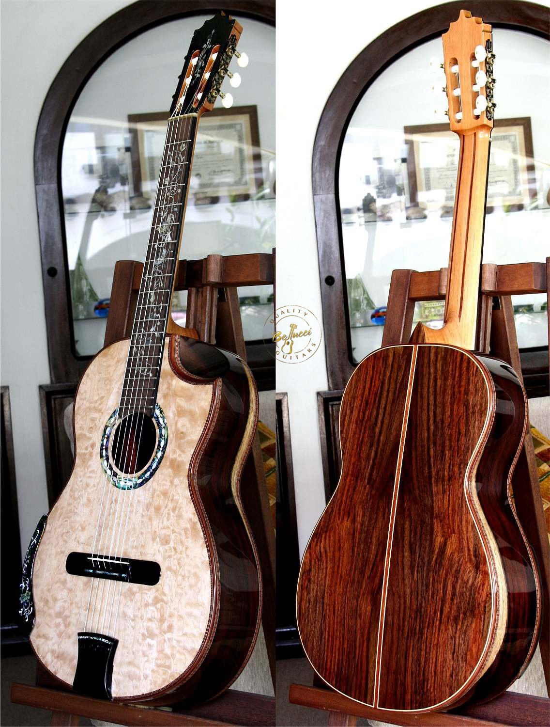 Indonesian Rosewood B&S, Maple Top Indented Cutaway Concert Classical Guitar
