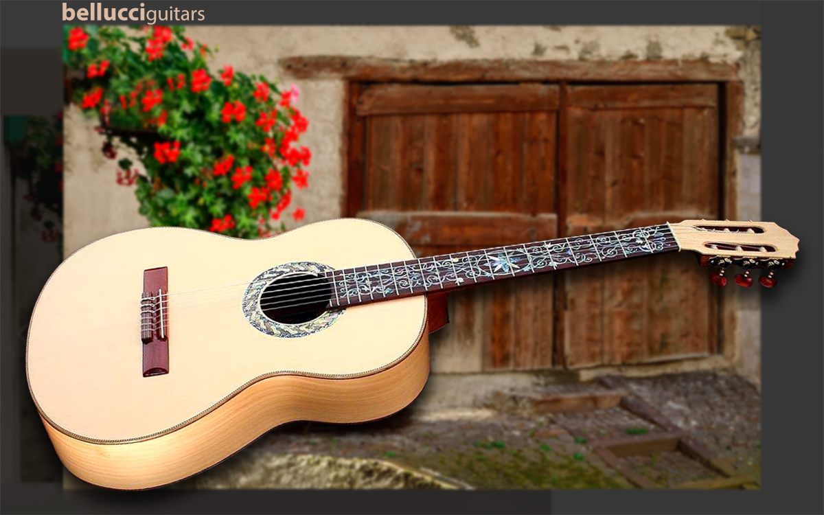 Bellucci Hard Maple Back and Sides, Spruce top Concert Classical Guitar