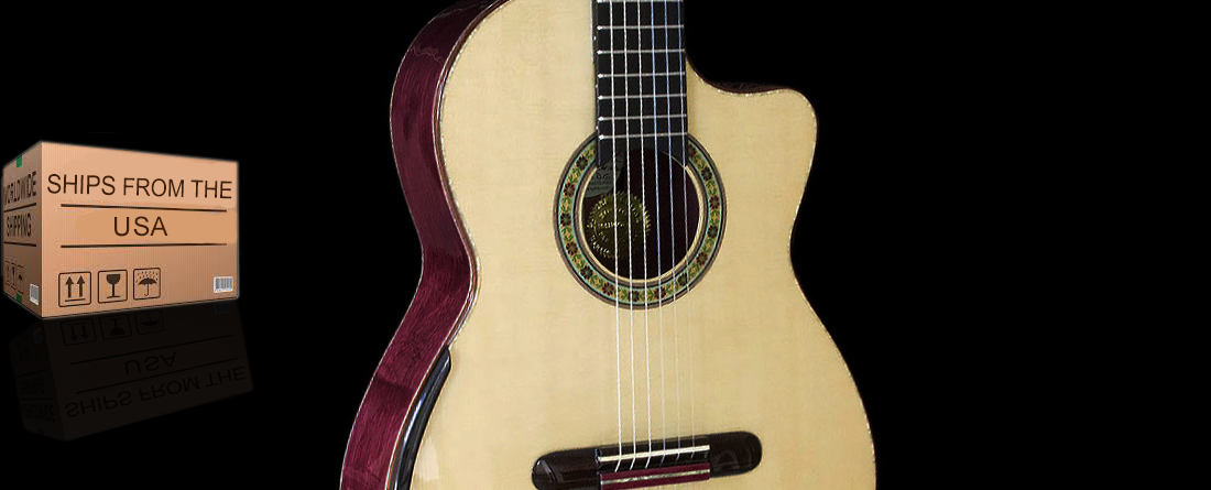 Purpleheart B&S Italian Spruce Top Cutaway.  Collectors Edition Concert Classical Guitar