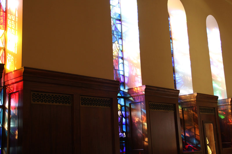 St Augustine Church, the amazing light reaches the Tabernacle with the most stunning colors.